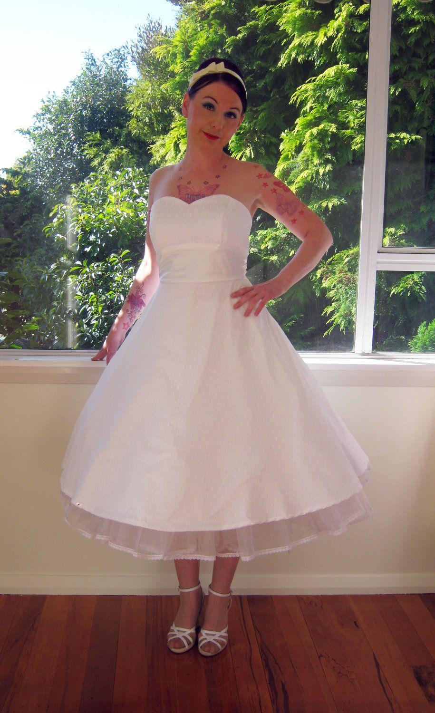 Us ubettyu style white wedding dress with polka dot overlay