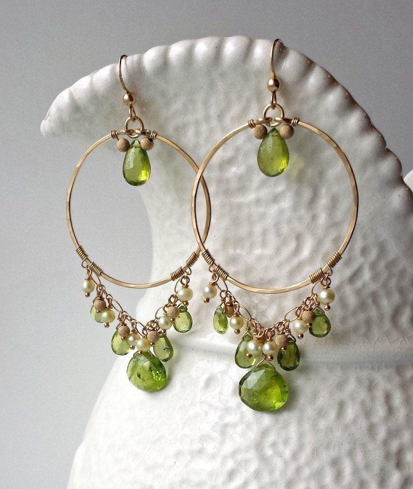 Peridot chandelier earrings green gold chandelier hammered gold peridot chandelier earrings green gold chandelier hammered gold hoops boho chandelier earrings mozeypictures Choice Image