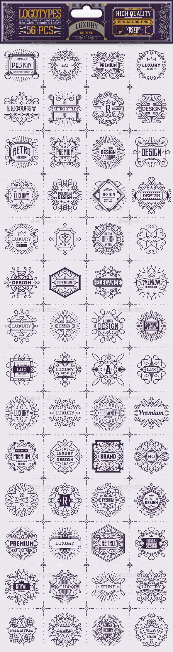 Luxury Thin Line Badges and Logos. Vector Pack. Template AI, EPS #design Download: http://graphicriver.net/item/luxury-thin-line-badges-and-logos-vector-pack/13785973?ref=ksioks