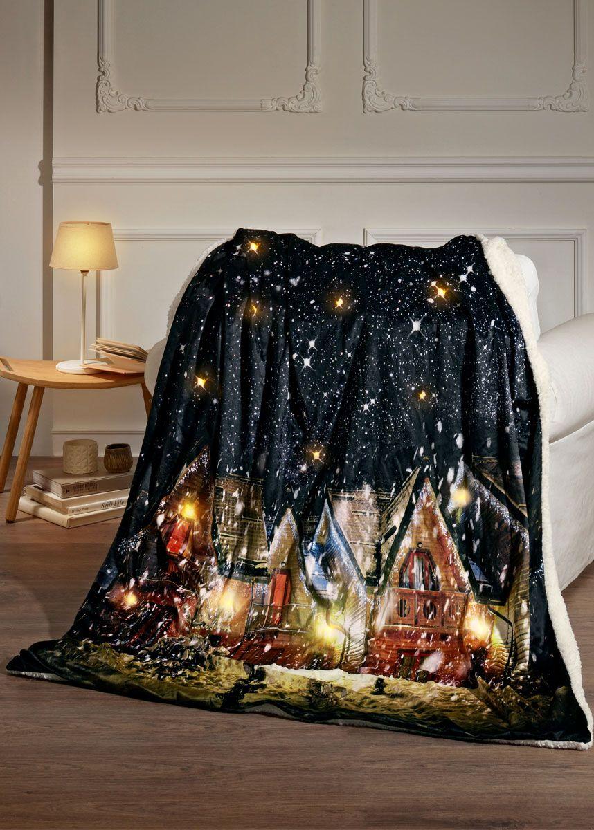 Plaid Luminoso Morbido E Caldo Per Un Effetto Molto Suggestivo Il Villaggio Natalizio Ed Il Cielo Notturno Si Illuminano Grazie Cielo Notturno Festa Di Natale