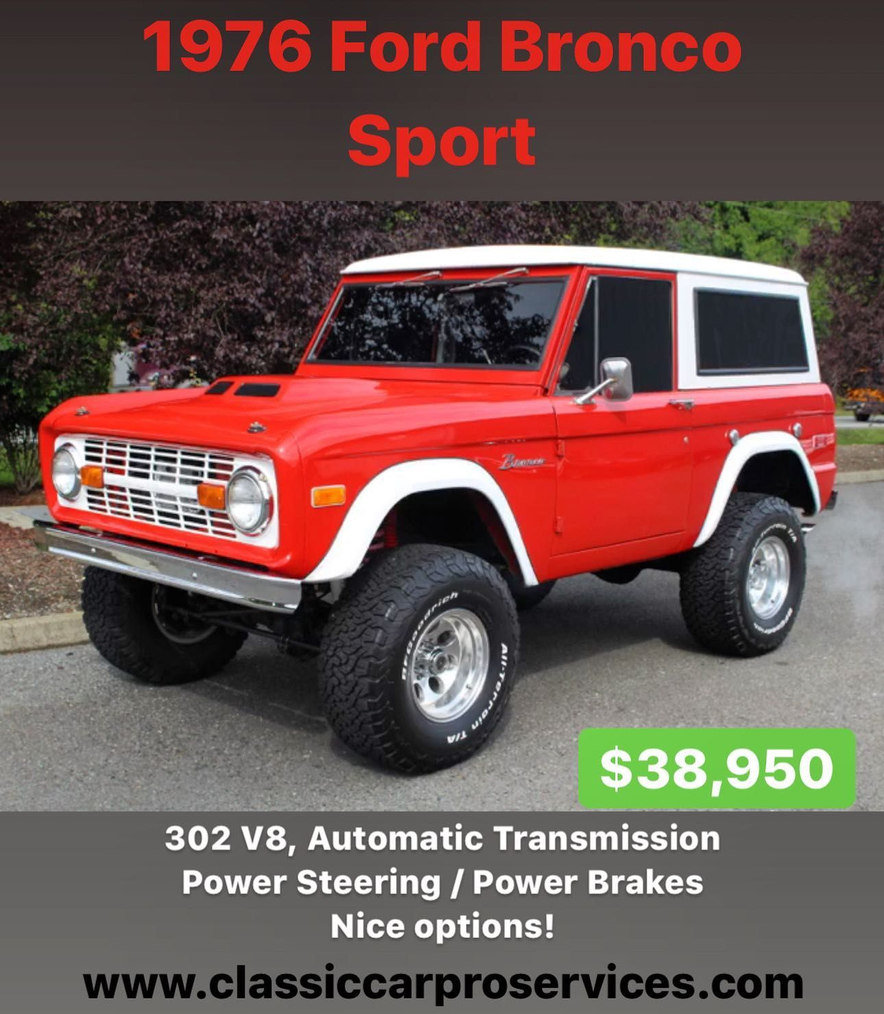 Gorgeous 1976 Ford Bronco Sport For Sale 302 V8 Factory Automatic Transmission Power Steering Power Front Disc Br In 2020 Bronco Sports Ford Bronco Classic Bronco