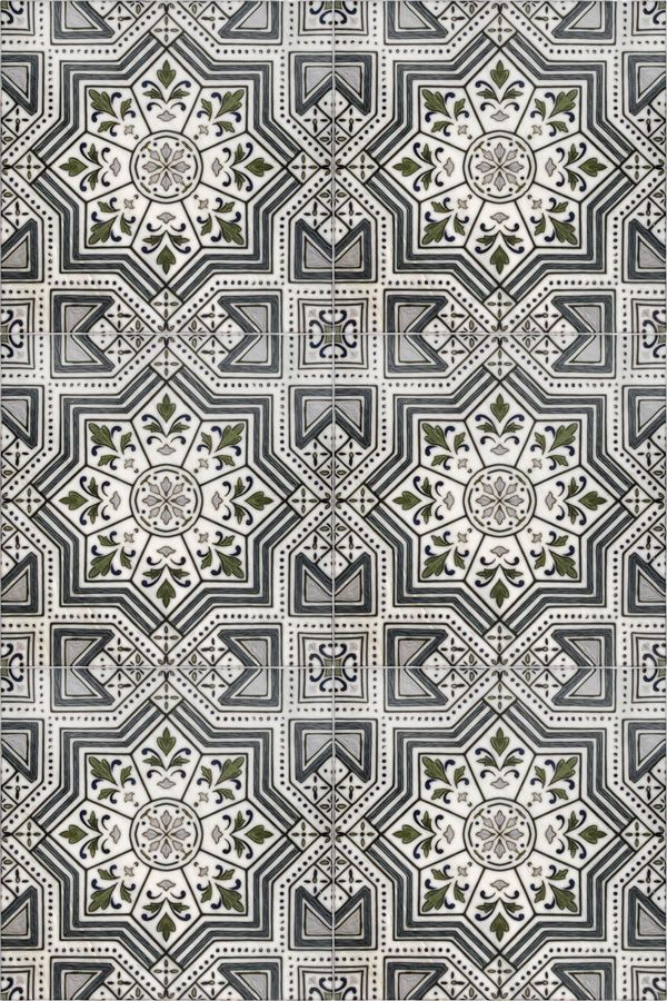 Moroccan Inspired Tile With Shades Of Navy Blue On Genuine Carrara, This  Patterned Tile Is