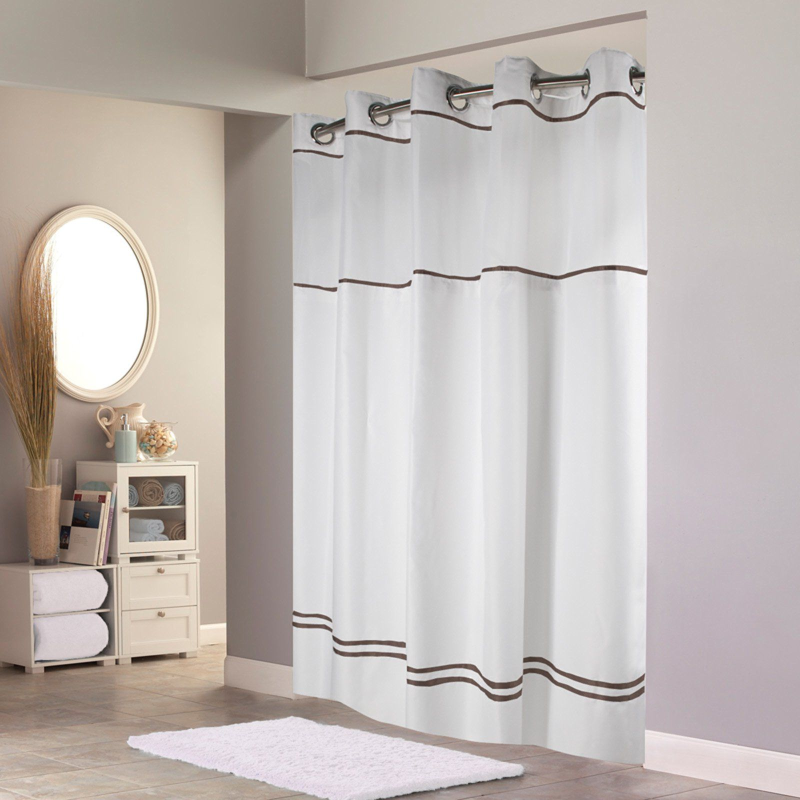 Hookless Monterey Polyester Shower Curtain White Brown