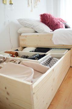 Diy Minimalistisches Stauraumbett Diy Storage Bed Build With Plywood Mobel Fur Kleine Raume Lagerbetten Stauraumbett