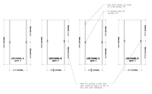 shop drawing of led panels and wire exits detail glass. Black Bedroom Furniture Sets. Home Design Ideas