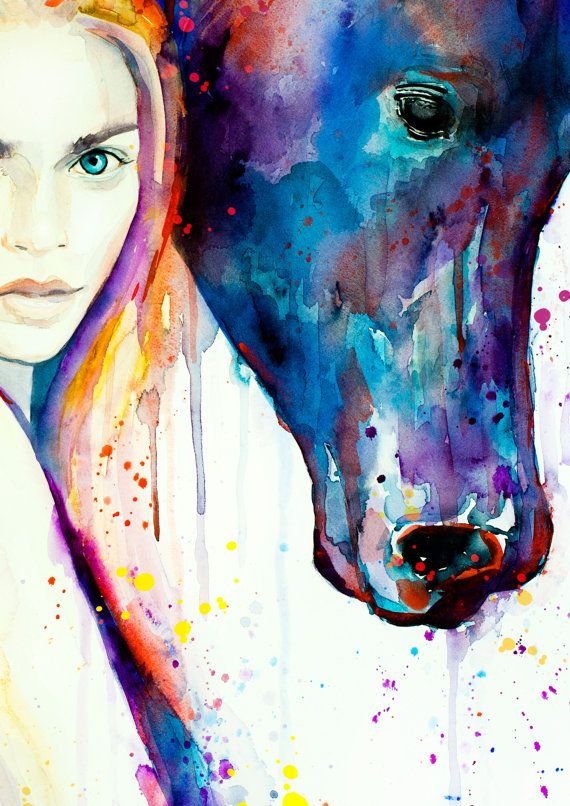 Horse Girl Watercolor Painting Print Fashion Illustration Horse
