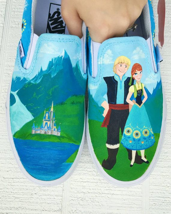 4927c3f9faeb18 Disney Vans Frozen Fever hand painted custom shoes - Shanny s Shoes on etsy