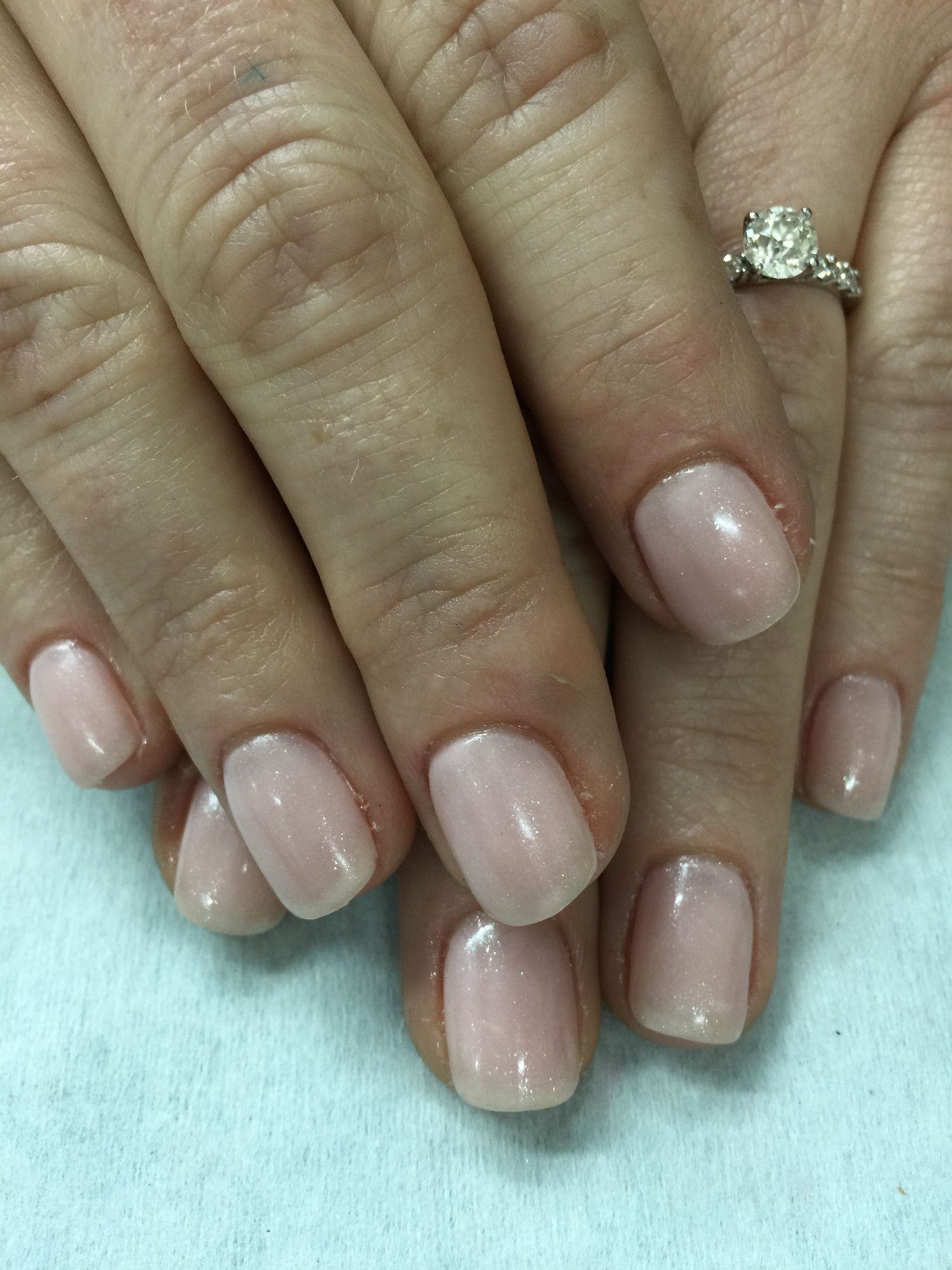 Sheer sparkle pale pink gel polish over non-toxic odorless hard gel ...