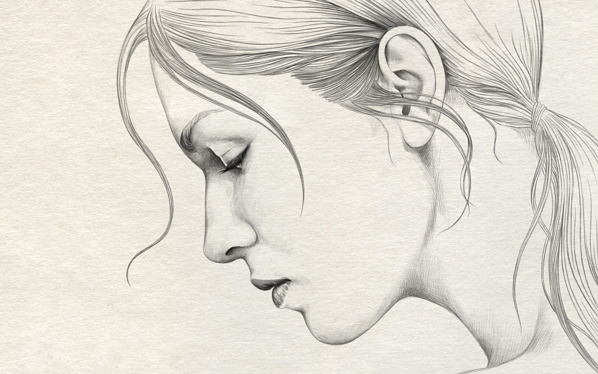 Pencil Sketch Girl Face Side