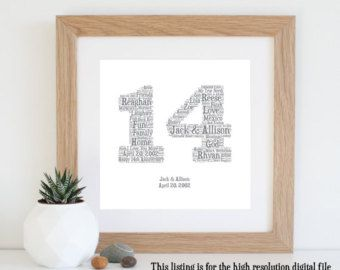 14th Anniversary Gift Word Art Printable 14 Year Wedding