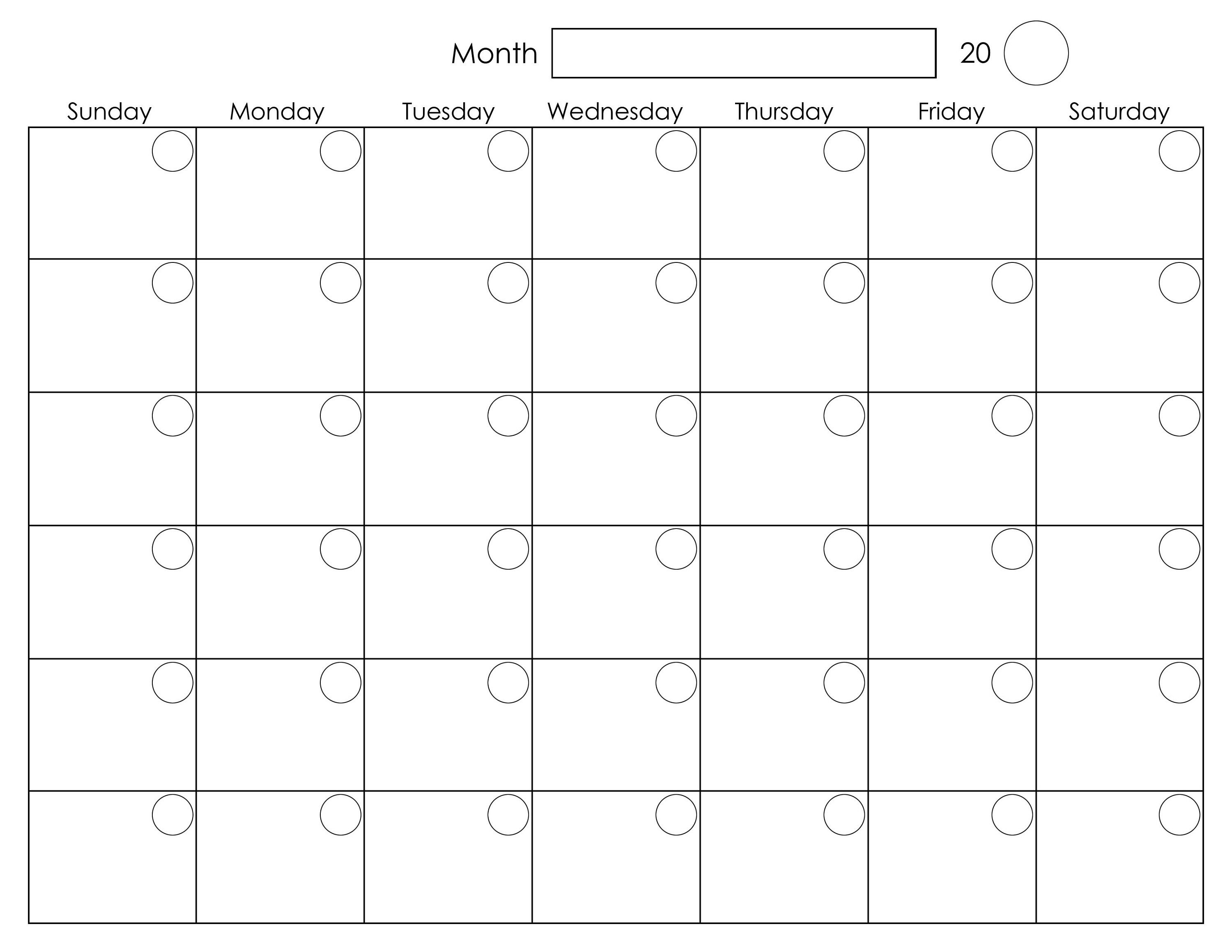 Weekly Calendar Template : Printable blank monthly calendar activity shelter