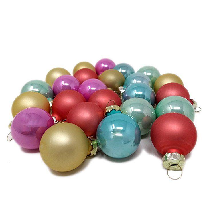Christbaumkugeln Set Bunt.Toci Mini Weihnachtskugeln Pastell Bunt Aus Glas 24er Set Mit