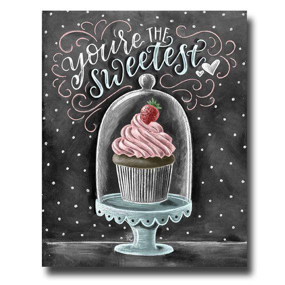 Cupcake Art, Chalkboard Art, Cupcake Print, Valentine's