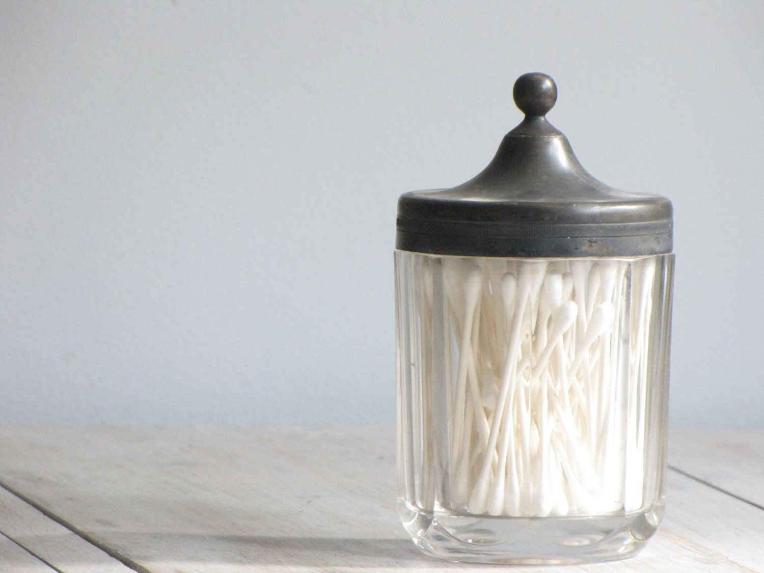Vintage Glass Bath Accessory Jar Good Vintage