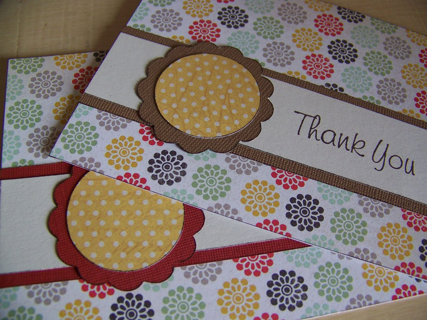 Thank You Card Set, Handmade Cards, Hand Stamped, Set of 2. $7.00, via Etsy.