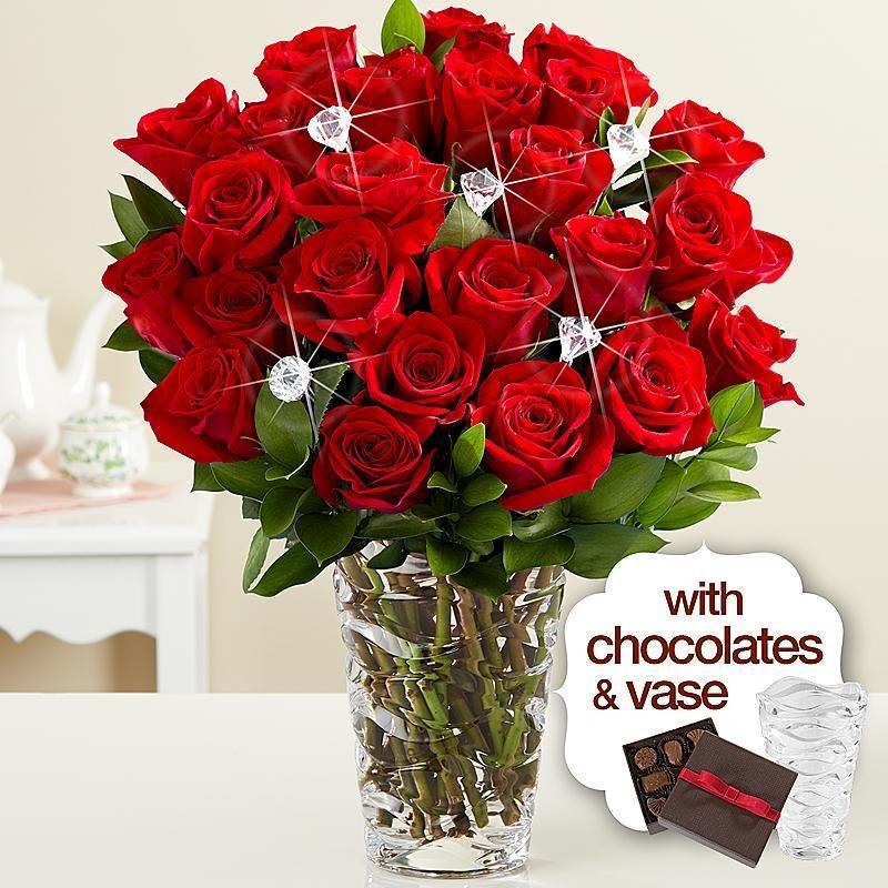 """Diamonds"" and Roses with Premium Vase & Chocolates 60"