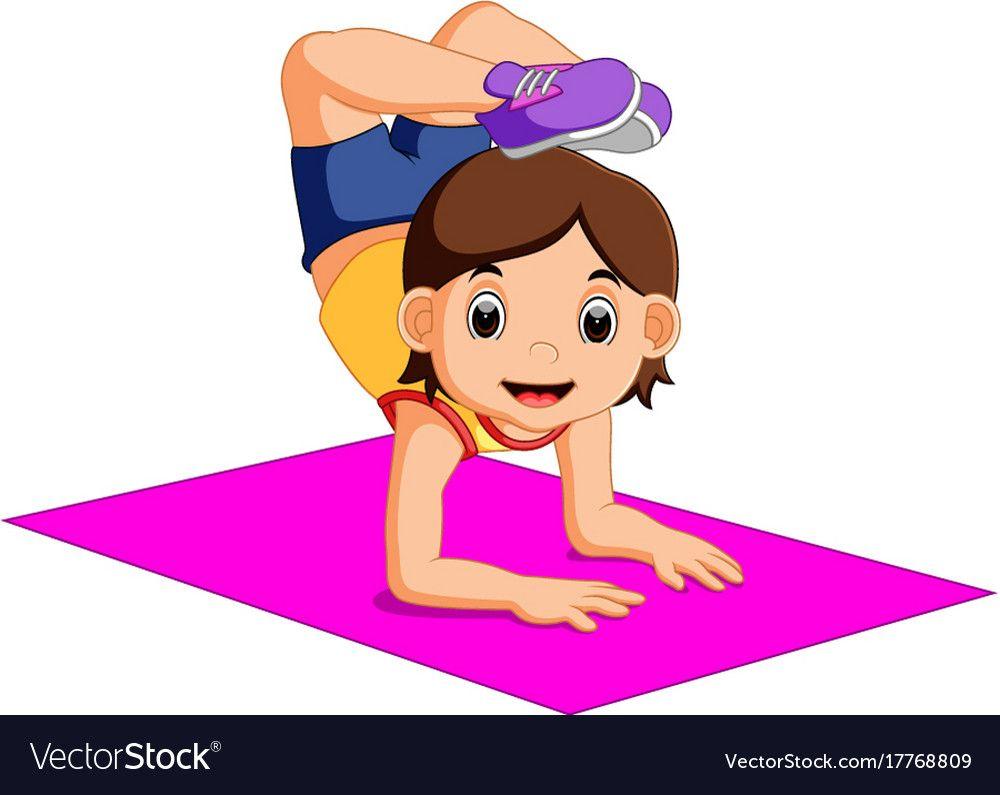Cute Woman Character Doing Yoga Vector Image On Vectorstock How To Do Yoga Yoga Cartoon Female Characters
