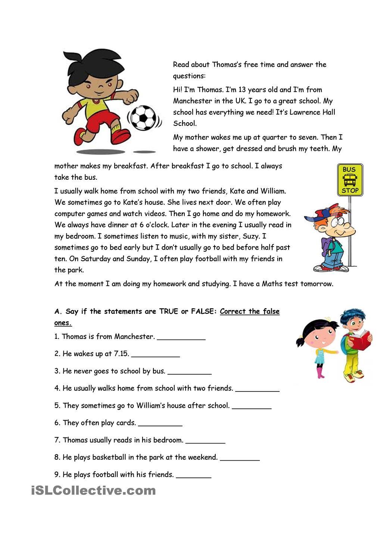 Thomas S Free Time Esl Reading Comprehension Reading Comprehension Lessons Reading Comprehension [ 1440 x 1018 Pixel ]