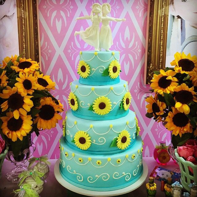 Sunflower cake Disney Frozen Fever Birthday Party Anna Laura
