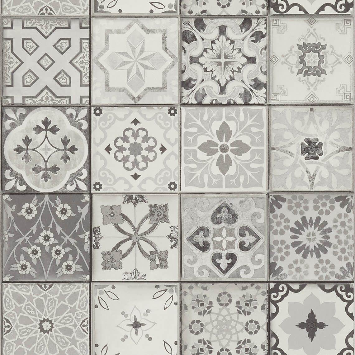Papier Peint Carreaux Vinyle Sur Intisse Imitation Carreaux De Ciment Gris Papier Peint Imitation Carreaux De Ciment Papier Peint Saint Maclou