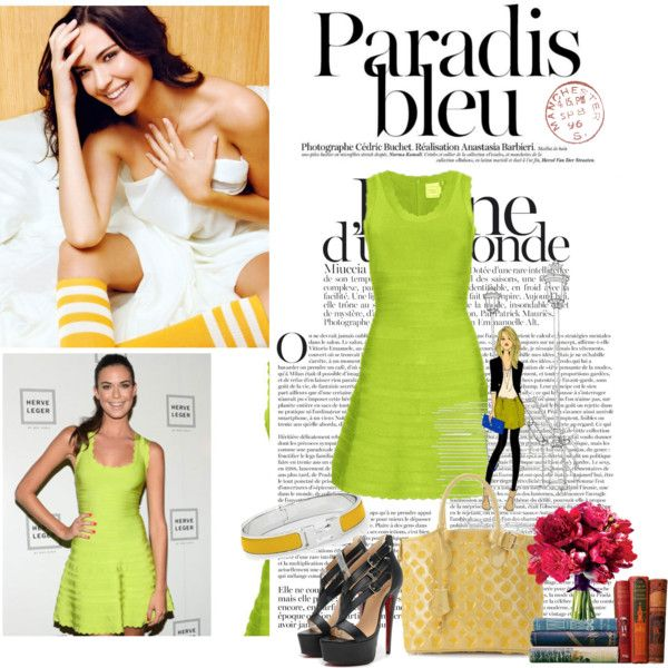 """""""Odette Annable in Herve Leger olive Jules A line dress"""" by shoeswithredsoles on Polyvore"""