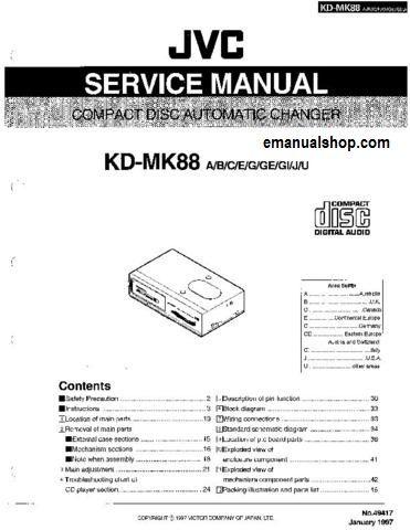 jvc compact disc automatic changer kd mk88 service manual download rh pinterest com Service Manuals Service Manuals