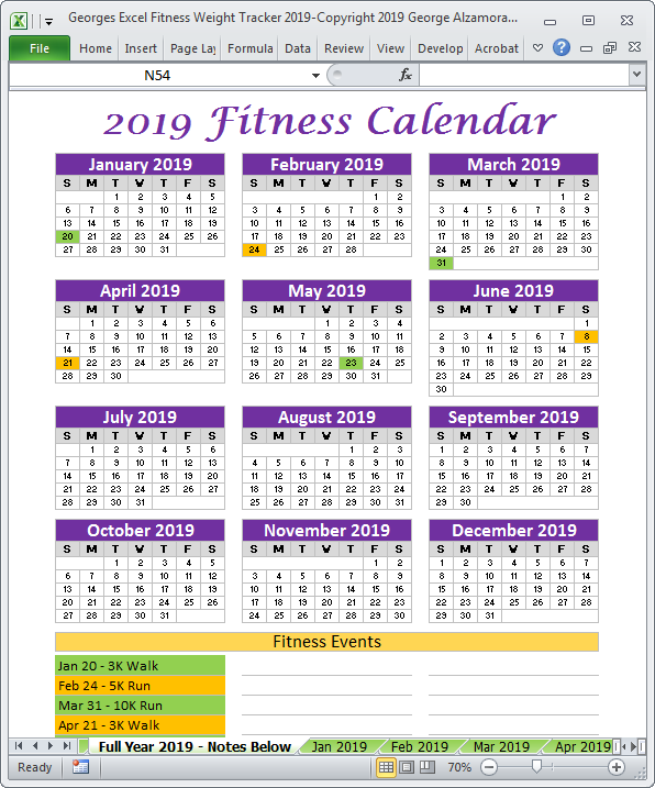 Excel Fitness Tracker Weight Tracker For Year 2019 2019 Fitness