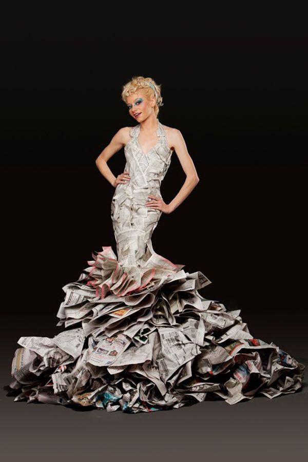 Paper Dress, Creativity With Paper | Paper and recycled Dress ...