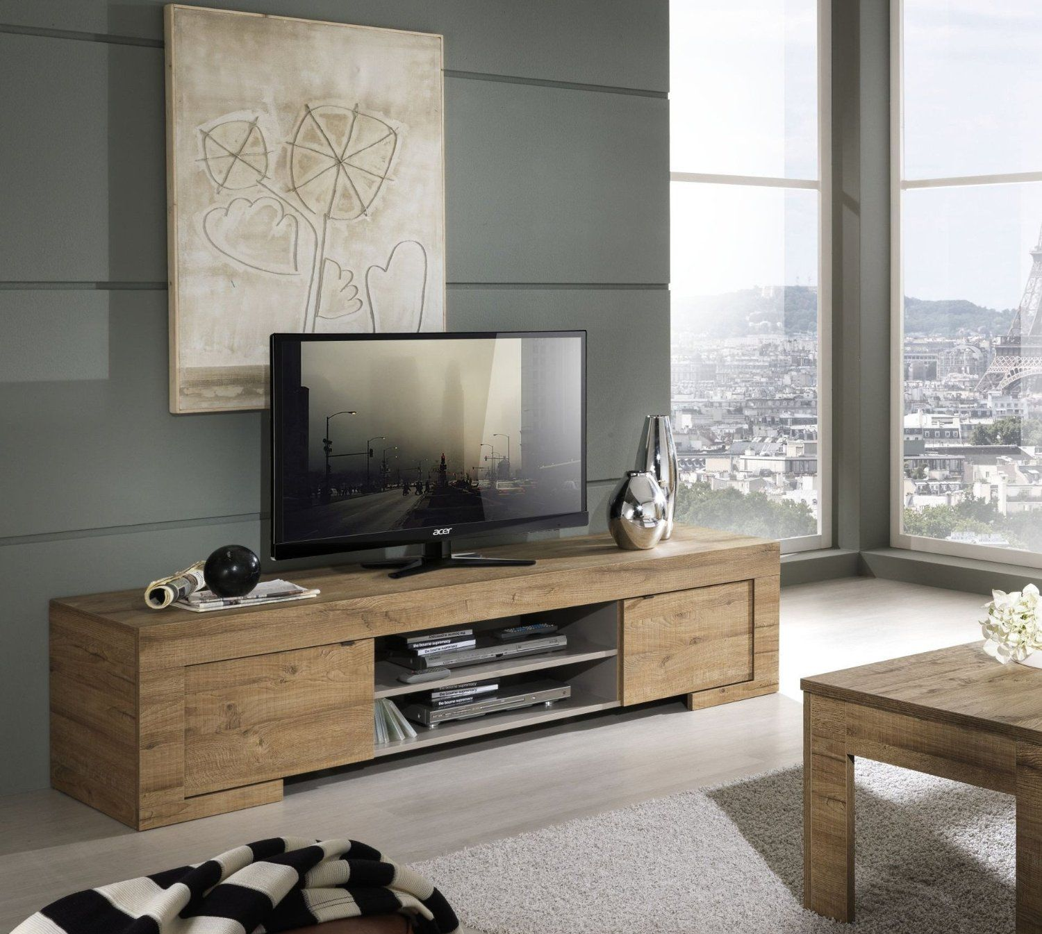 Mobili Su Amazon Porta Tv In Laminato Rovere Miele Amazon It Casa E
