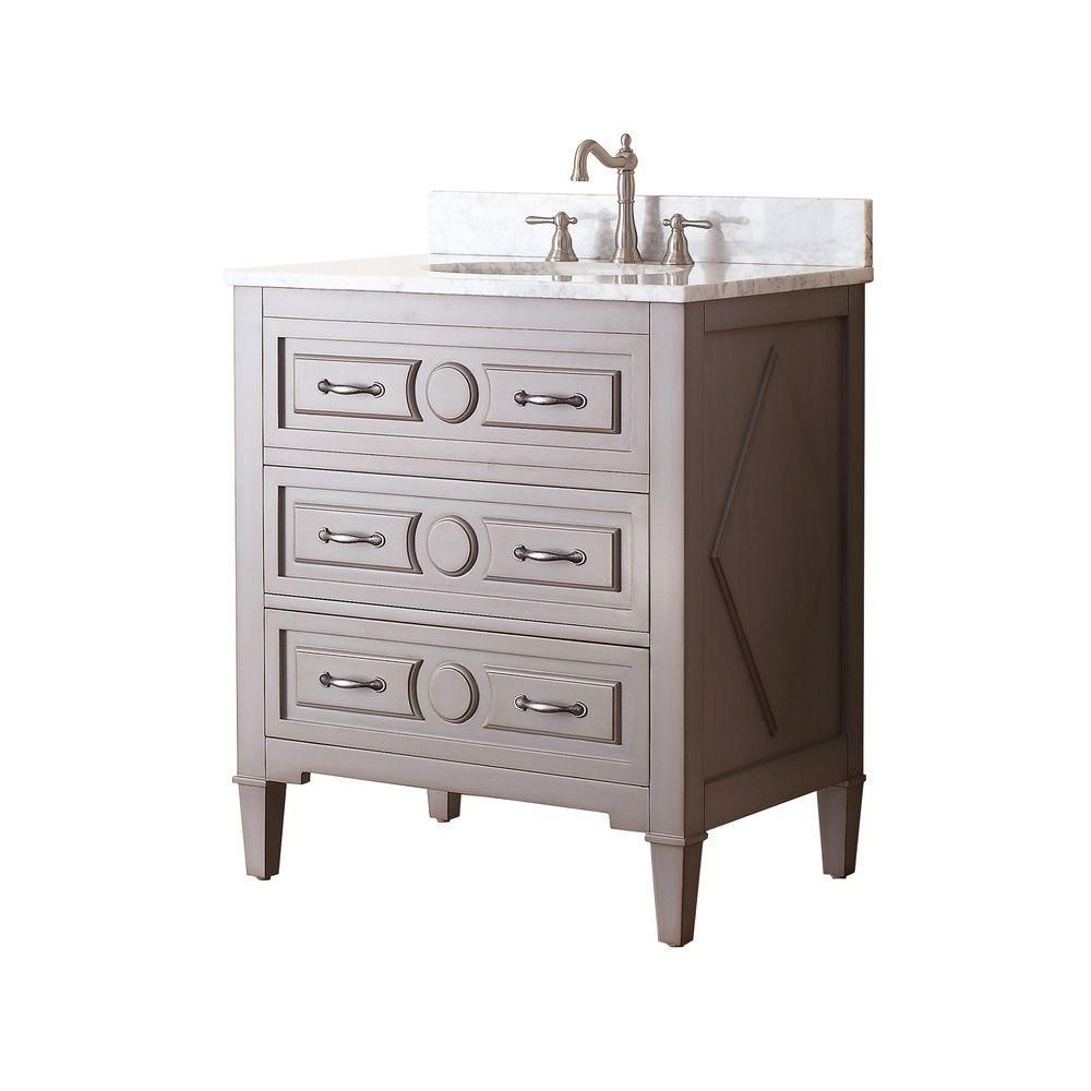 Avanity Kelly 31 in. W x 22 in. D x 35 in. H Vanity in Grayish Blue with Marble Vanity Top in Carrera White and White Basin-KELLY-VS30-GB-C - The Home Depot