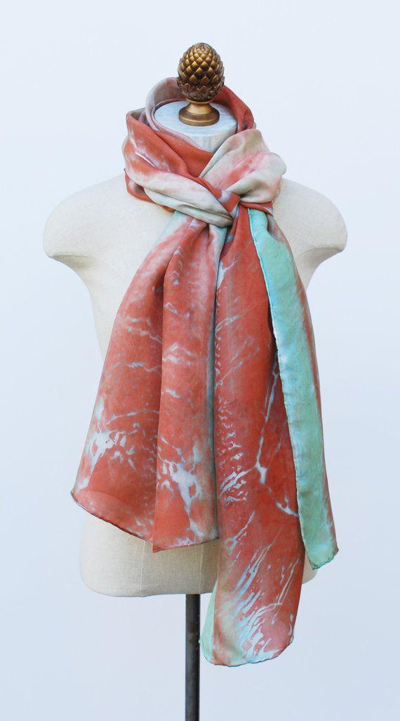 Burnt Orange And Jade Silk Scarf Oversized Hand Printed Botanical Scarves Silk Scarf Silk Set Burnt Orange