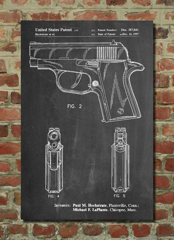 Sig Sauer P220 Pistol Patent Poster, Gun Enthusiast, Gun Art - new blueprint gun art