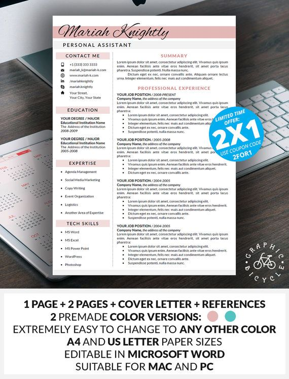 Resume Template Word Instant Download, Cover Letter, References - resume references