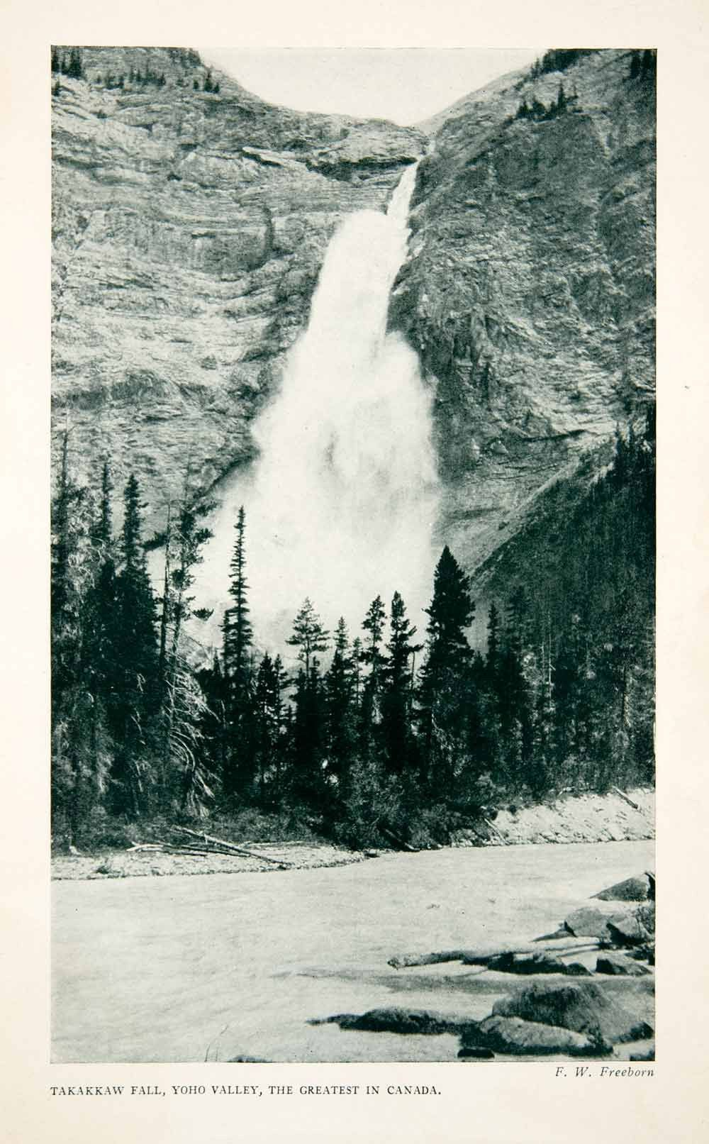 1922 Print Takakkaw Falls Yoho Valley Canada Landscape Mountain Tree Park Xgnb2 Canada Landscape Landscape Scenery