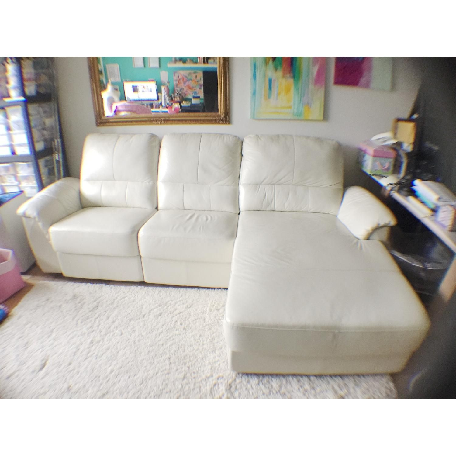 Cellini Ivory White Leather Sectional Sleeper Sofa Sectional