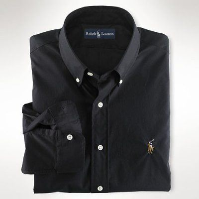 Custom-Fit Sueded Twill Black. Polo ...