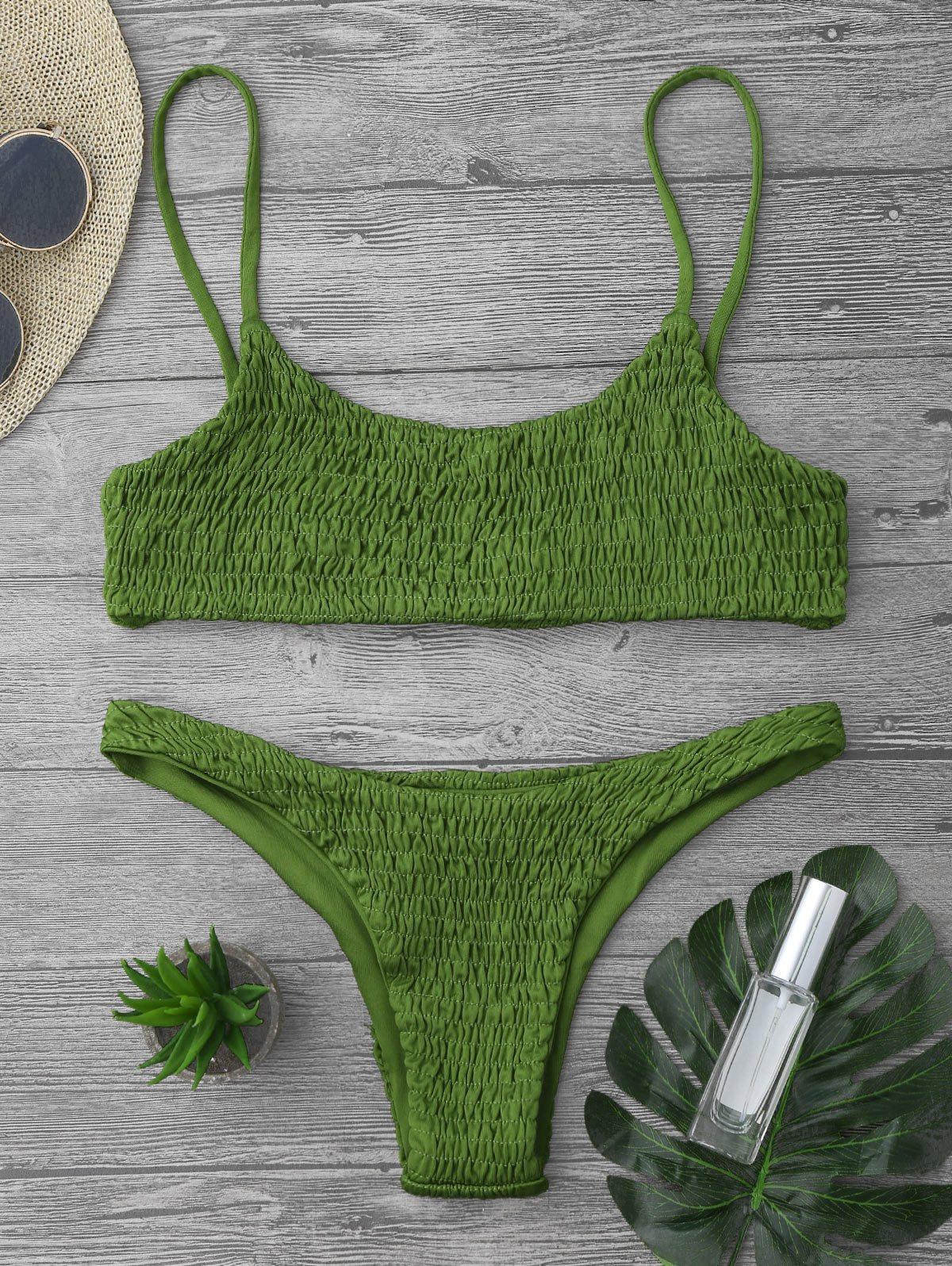 5ac538957653c Zaful 2017 Women New Cami Smocked Bikini Top and Bottoms Sexy Low Waisted Spaghetti  Straps Swimsuit Summer Beach Swimwear