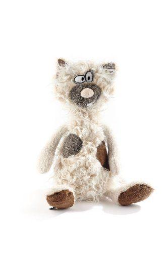 sigikid beasts kuscheltier f r erwachsene und kinder katze kiez miez wollwei grau braun. Black Bedroom Furniture Sets. Home Design Ideas