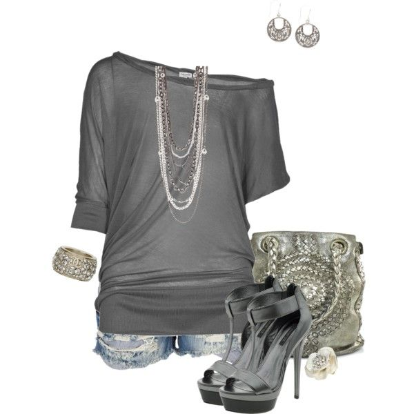 """Grey and metallic"" by beautifullyinspired on Polyvore"