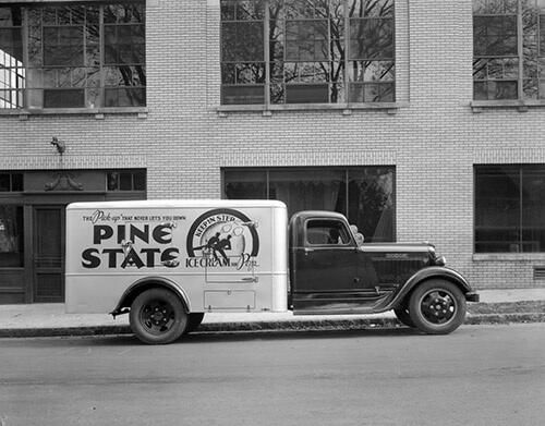 Pine State Truck In Front Of The Creamery Building On Glenwood South C 1935 Barden Collection North Carolina Facts Raleigh Vintage Trucks