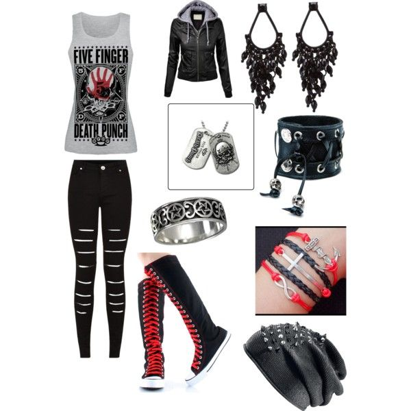 Five Finger Death Punch Concert Outfit | Polyvore Designs | Pinterest | Concert outfits Emo ...