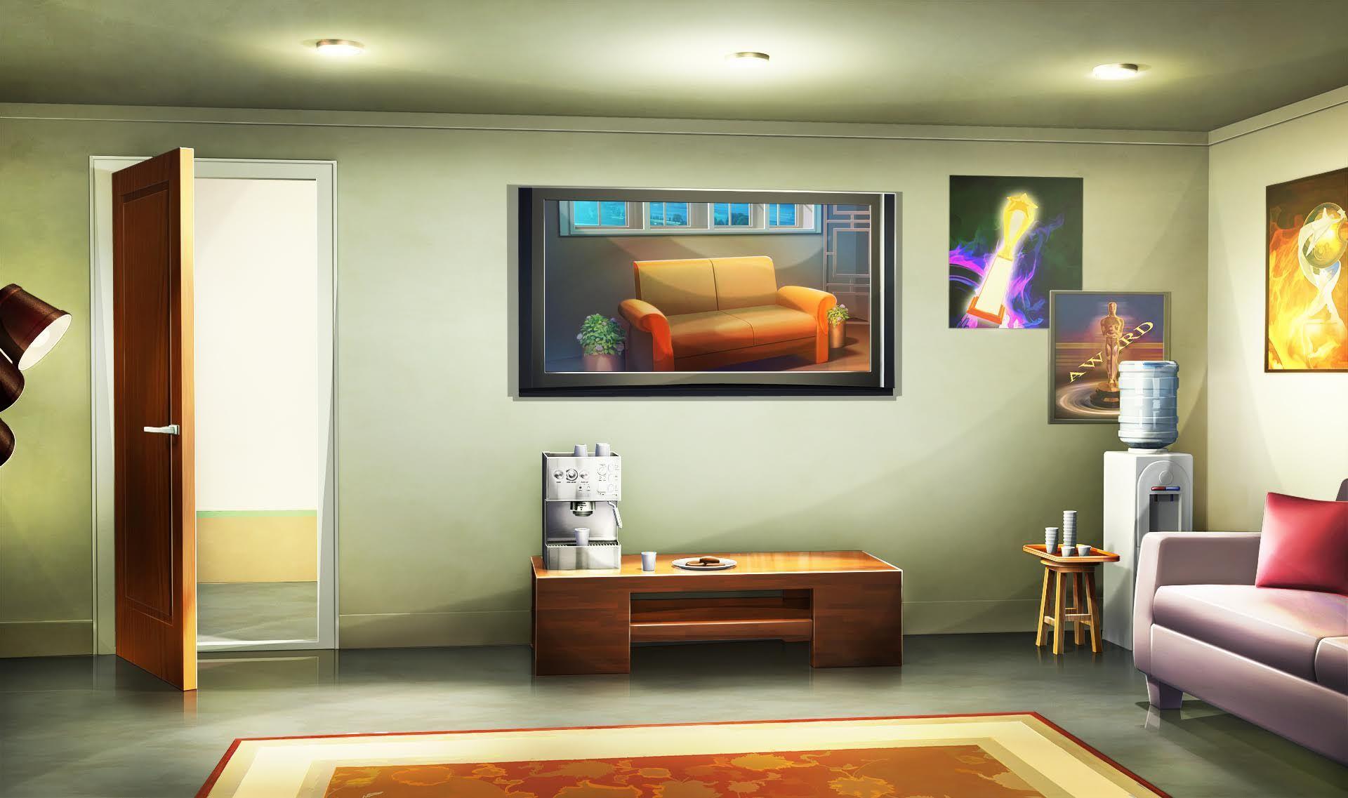 Best Int Demi Green Room Day Cenário Anime Papel De 400 x 300