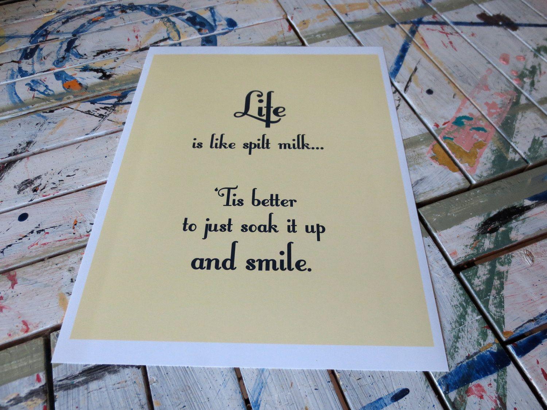 "Inspirational Art Print, Unframed 8 x 10, in ""Spilt Milk"" in Butter Yellow by nyssaink"