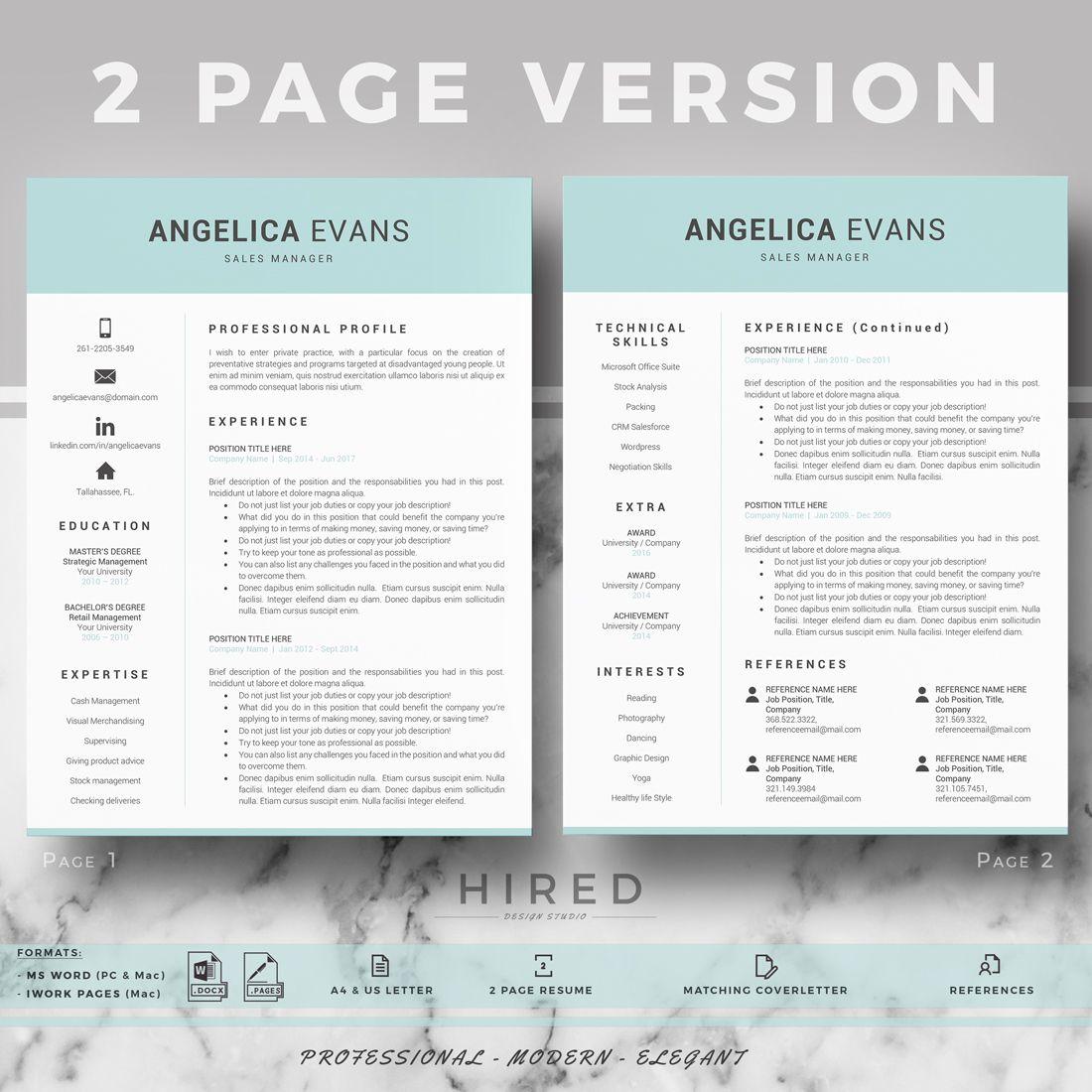 Modern resume template professional resume cv for word