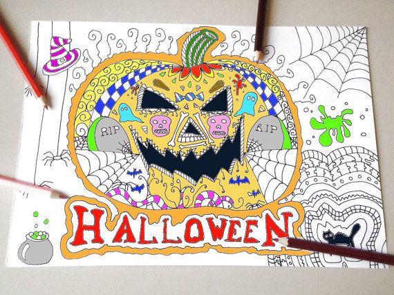 Halloween kids coloring page adult jack o lantern pumpkin instant