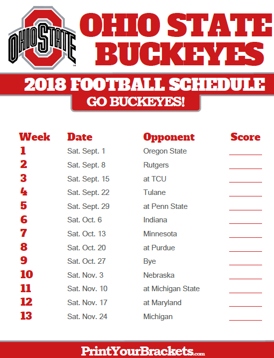 Ohio State Football Schedule 2019 2018 Printable Ohio State Buckeyes Football Schedule | Ohio State