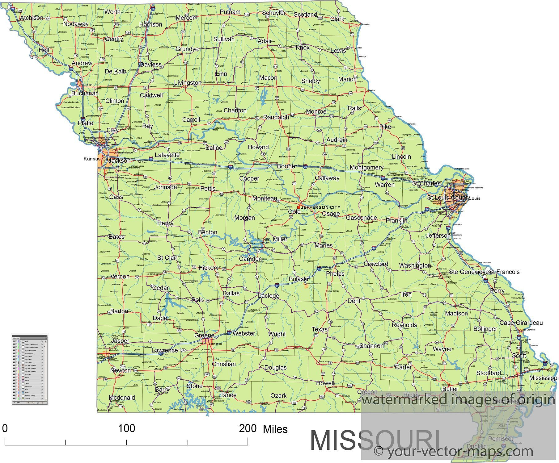 Missouri state route network map. Missouri highways map. Cities of ...
