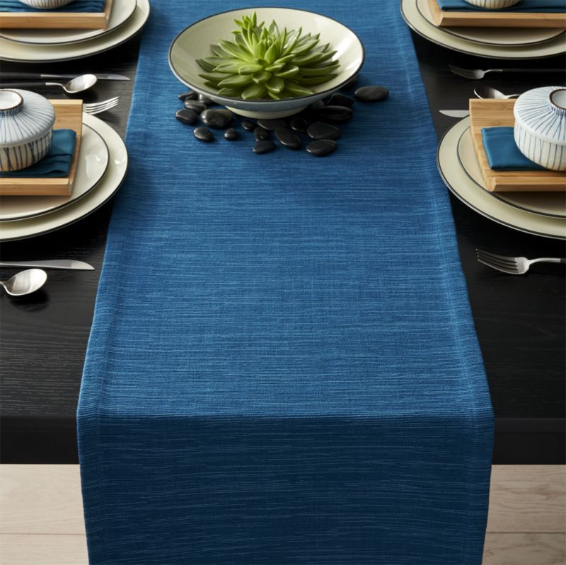 Grasscloth Corsair Blue Table Runner Crate And Barrel Blue