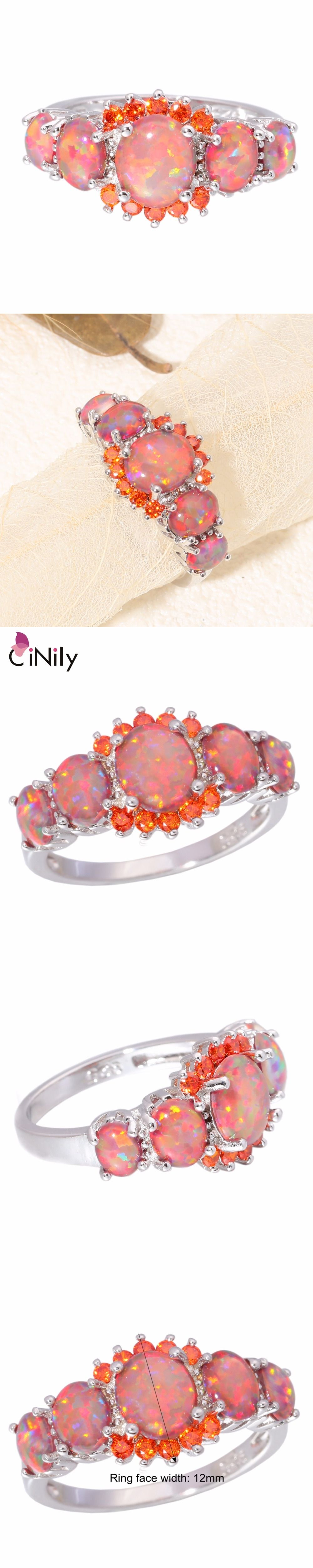 Orange Fire Opal Orange Garnet Silver Ring Wholesale Retail Hot Sell ...