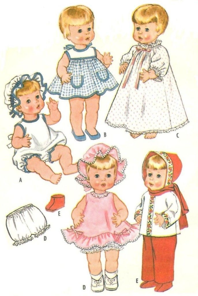 "Vtg Doll Clothes Dress Pattern ~ 18/"" 19/"" 20/"" Saucy Walker Tiny Tears Dy Dee"